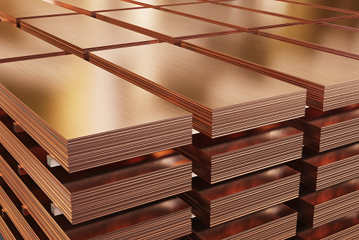 Copper sheets, piles of copper metal in warehouse. 3d illustration.